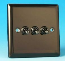 Varilight 3 Gang 10A 1 or 2 Way Dolly Toggle Light Switch Iridium Black Finish XIT3